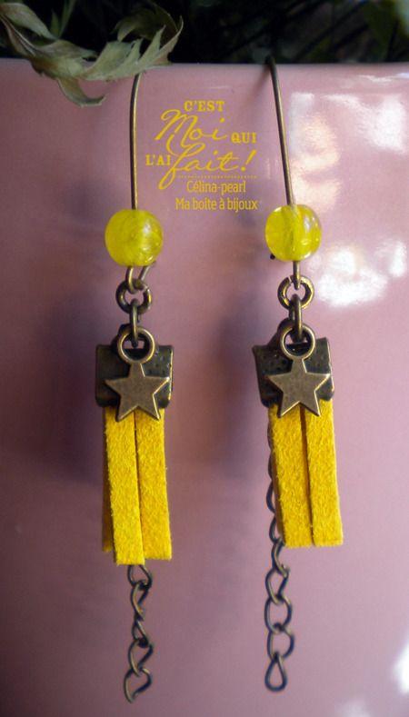 ***Bohème*** Boucles d'oreille bronze & jaune étoilé : Boucles d'oreille par celina-pearl-petite-seance-shopping