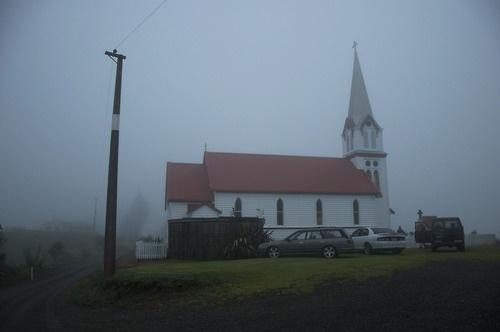Church in the mist. Ngai Tupoto. Motukaraka. Kohukohu.