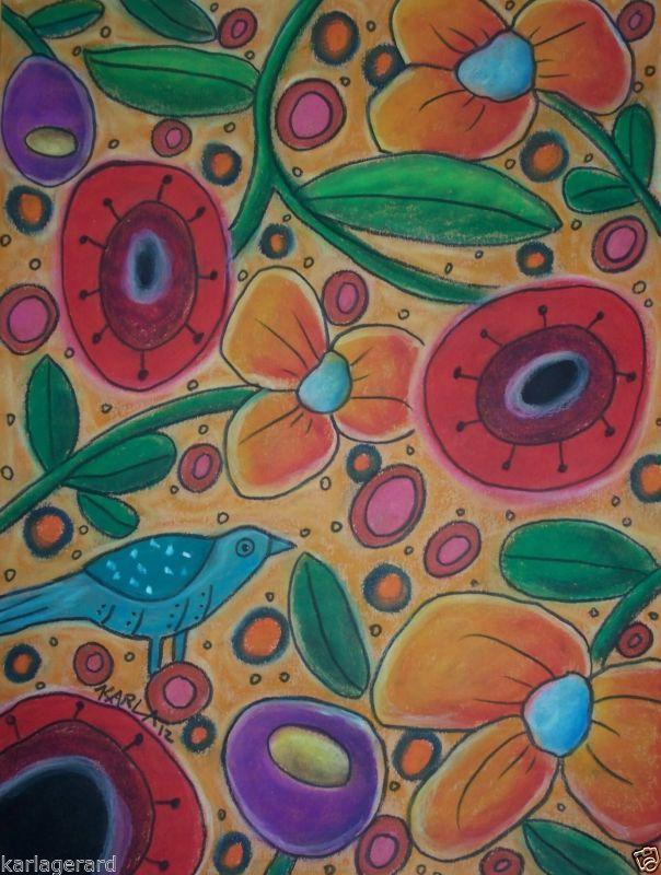 Alfombra De Enganche Craft patrón de papel florece Fiesta arte popular primitivo de Karla Gerard