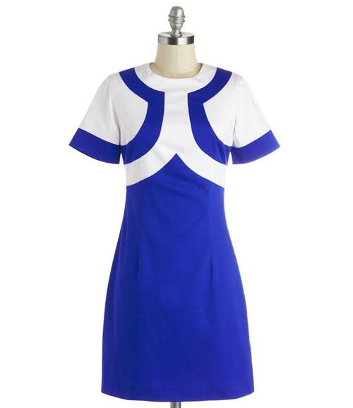 TW_5052 Short Blue Azure and White Dress