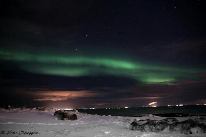 Aurora borealis just outside Reykjavik
