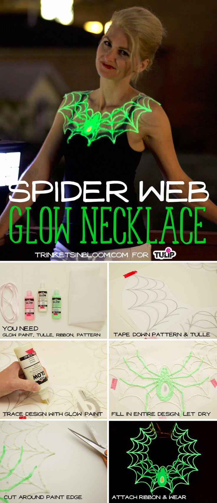 This spider web glow necklace by @trinketsinbloom is the perfect DIY costume accessory for your Halloween party or masquerade ball.  When put under a blacklight, it glows SUPER bright too! Make it using tulle, Tulip dimensional paint a.k.a. Puffy Paint, tulle, a ribbon and the pattern you can download by clicking the link.