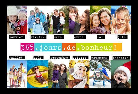 Envoyez une attention spéciale cette année grâce à cette Carte de voeux 365 jours. Intégrez 1 photo par mois de l'année et partagez vos plus beaux souvenirs 2016 ! Avec Popcarte souhaitez les meilleurs voeux 2017