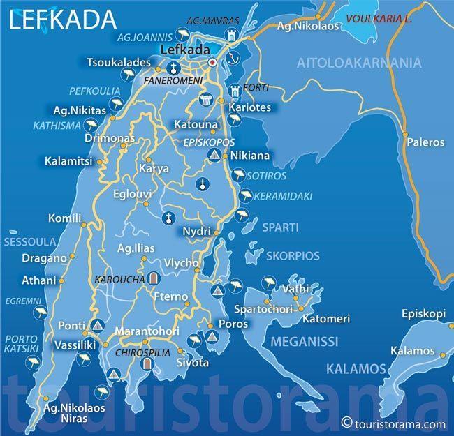 map of lefkada beaches - Google Search