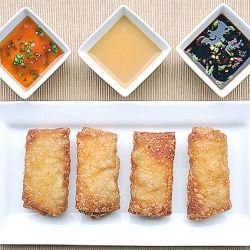 World's Best Chinese Eggrolls with three sauces that run the flavor gamut.