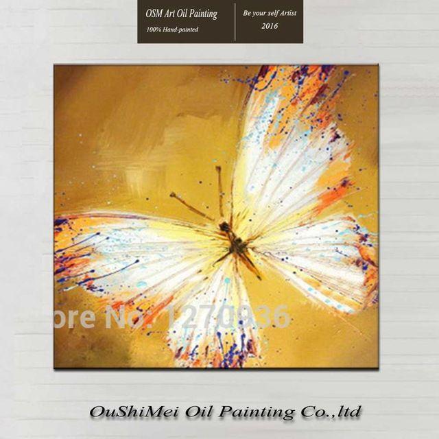 Pintados À mão Pintura A Óleo Sobre Tela de Arte Pinturas Animais Pintura Para Sala de estar Pendurar Imagem Borboleta Branca Frete Grátis