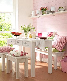 On the Bench-note to self...paint your bench white and place against the wall with pretty pillows for table seating.#Repin By:Pinterest++ for iPad#