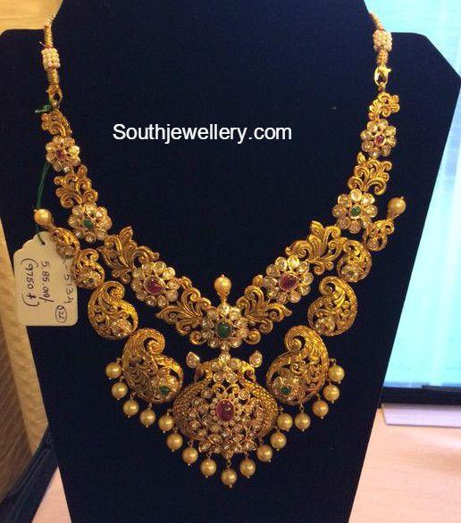 Antique Gold Paisley Design Necklace photo