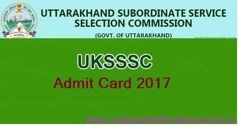 UKSSSC – Computer Asst/ Jr Asst Written Competitive Exam 2017-Admit Card Published  UKSSSC – Computer Asst/ Jr Asst Written Competitive Exam 2017 Call Letter: Uttarakhand Subordinate Service Selection Commission (UKSSSC) has recently released admit card for attending examination for the post of Computer Assistant/ Junior Assistant Written Competitive Examination 2017. Examination will be held on 09-01-2017. Candidates who have applied for this post can download their