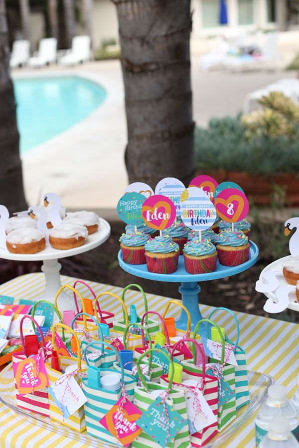 Swan pool float birthday party swim summer girl pool party