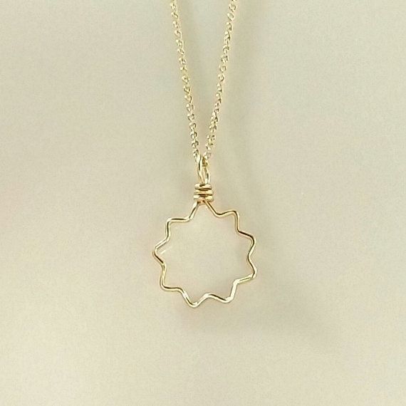 Goldfilled Wirewrapped Nine-Pointed Star Pendant Necklace