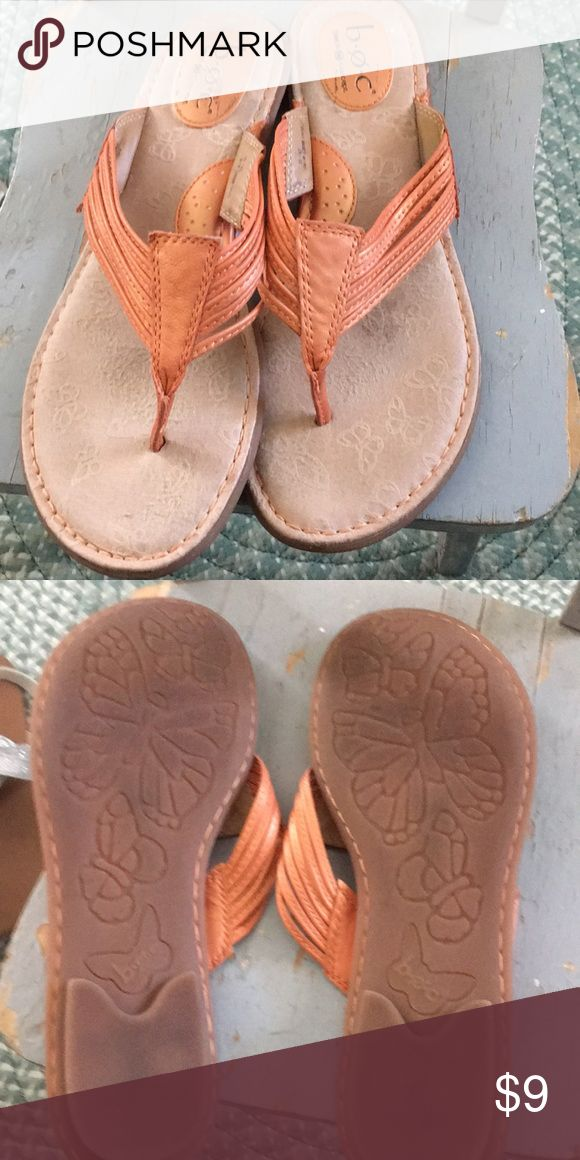 Orange sandals B.O.C. Born size 10 thongs leather Yep wore once.  Been in closet Just thinking closet Raising Grandson 8 years Baby need shoes..and clothes and sports and shoes Born Shoes Sandals