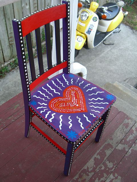 Funky Painted Furniture-new folk art chair by artbymags