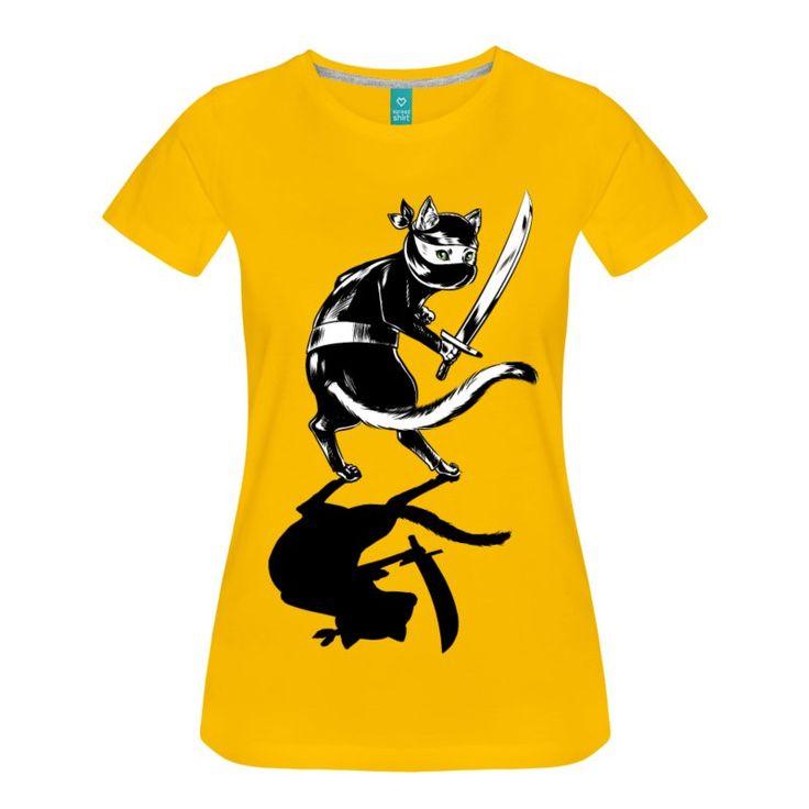 Mørk rosa Ninja Cat T-skjorter - Premium T-skjorte for kvinner