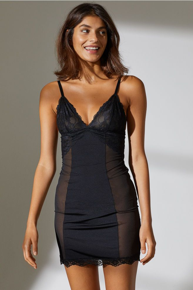 dcbbb26e063 Nightgown with Lace - Black - Ladies