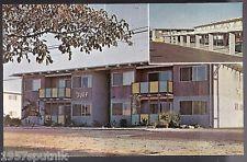 Surf Tiki style apartment Modesto postcard 50's mid-mod MCM Deco McGroarty Nos n