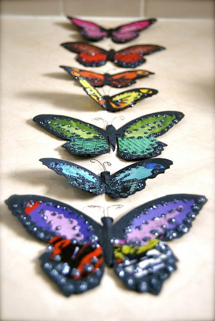 embellished paper butterflies by http://www.flickr.com/photos/booie/