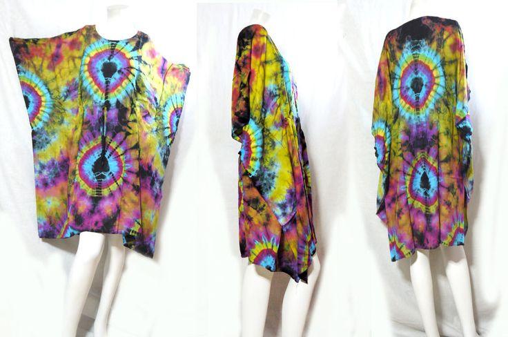 HIPPIE BOHO music festival chic  tie dye kimono cover up kaftan mini dress 173 #Unbranded #Maxi #Casual