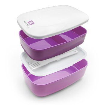 Bentgo - The All-in-one Stackable Lunch Box Solution - Sleek and Modern Bento Box Design Includes 2 Stackable Containers, Built-in Plastic S...