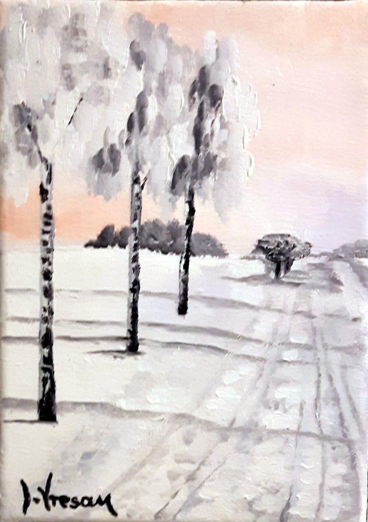 "Ive Vresan - ""Winter"" - 5''x7''  Landscape. Oil painting on canvas."