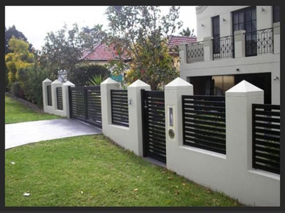 Modern house gates and fences designs google search for Wall gate design homes
