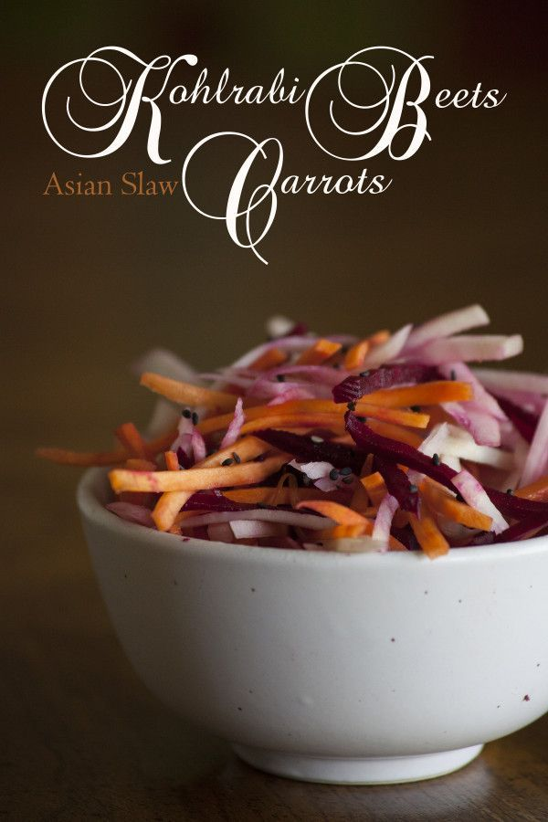 Healthy Asian Slaw with beets, carrots, and kohlrabi. Simple, fast, great with teriyaki - EatingRichly.com