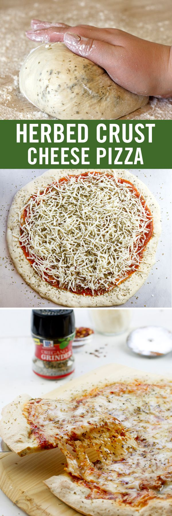 This cheese pizza recipe gets more flavorful and fun with our Oregano Herb Grinder. Twist the cap to infuse store-bought pizza dough with fresh-ground oregano. Top with additional oregano to bake the flavor right in. Give the bottle one final twist and serve the finished slice for an easy weeknight meal.