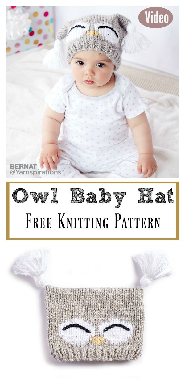Cute Owl Baby Hat Free Knitting Pattern and Video Tutorial | Knit ...