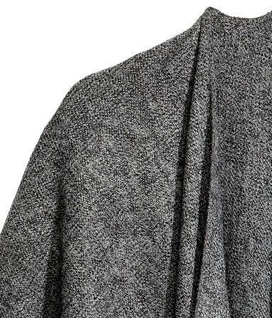 Vævet poncho med frynser   Mørkegråmeleret   Dame   H&M DK