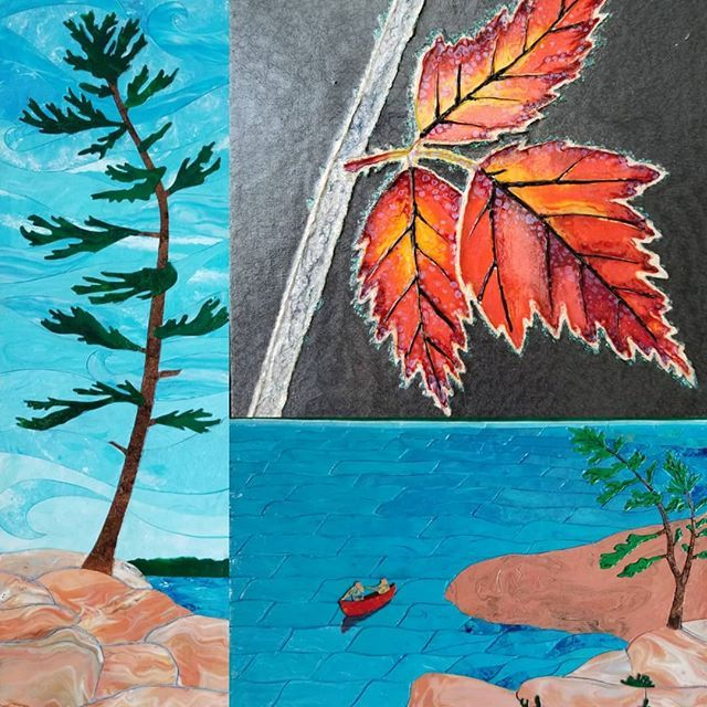 These are the 3 pieces which I've entered into the Muskoka Arts & Crafts' 41st Annual Spring Member's Show for this weekend. . . . #muskokaartist #canadianartist #canadianshield #muskokalakes #lakemuskoka #canoeing #adventure #sabbatical #offgrid #acrylicskins #acrylicpainting #artist #fineart #fluidart #pouredpainting #mixedmediaart #pebeo #lookslike #stainedglass #georgianbay