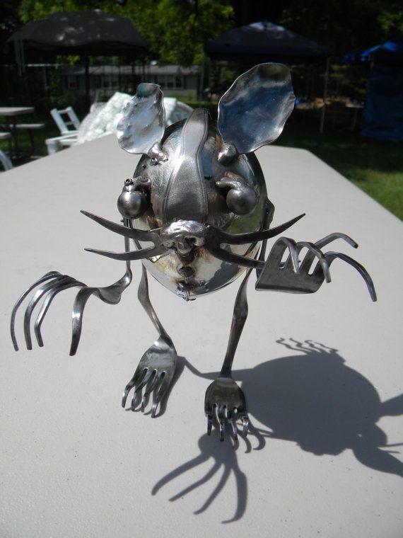 Chinchilladon, Stainless steel silverware metal sculpture,  by 2ndChanceMetalArt via Etsy