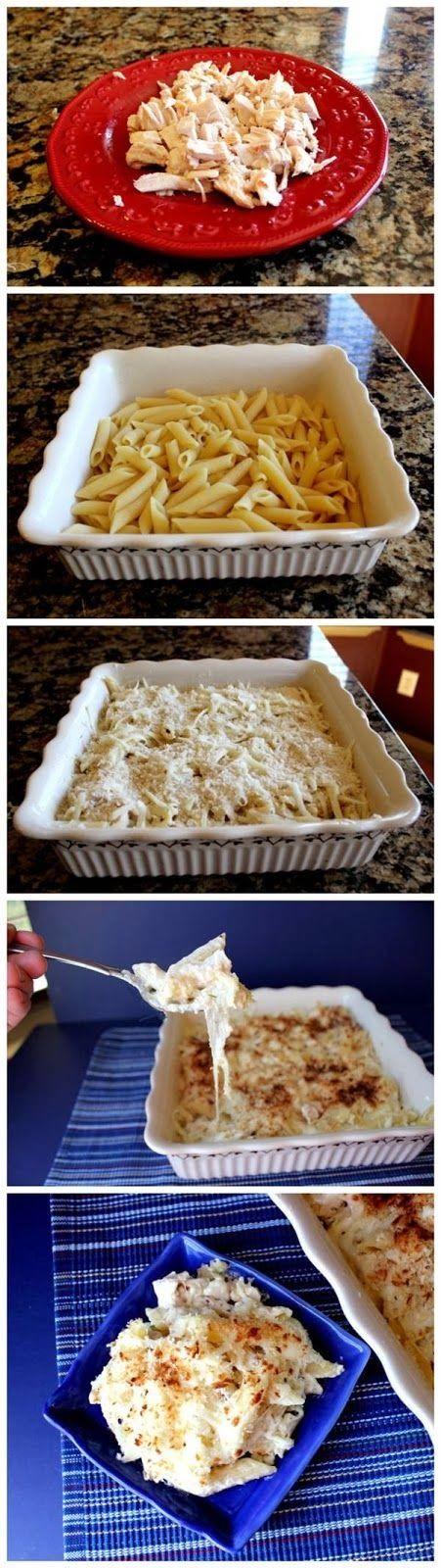 Chicken Alfredo Pasta Bake - penne pasta, butter, whipping cream, whole milk, parmesan cheese, rotisserie chicken, chicken broth, garlic, thyme, oregano, mozzarella cheese, panko crumbs, salt, pepper.