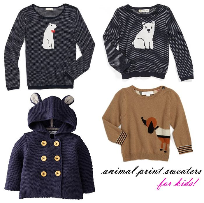 Graphic Animal Sweaters for Babies & Kids; Kids animal print sweaters http://thefashionableesq.blogspot.com/2012/09/animal-caricature-sweaters-jcrew-french.html