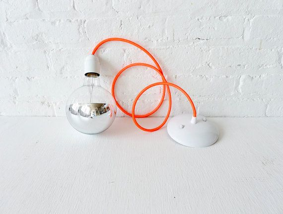 uncovet neon pendant lamp by Earth Sea WarriorPop Of Colors, Trav'Lin Lights, Hanging Pendants, Vintage Wardrobe, Future House, Colors Cords, Pendant Lights, Pendants Lights, Orange Lamps