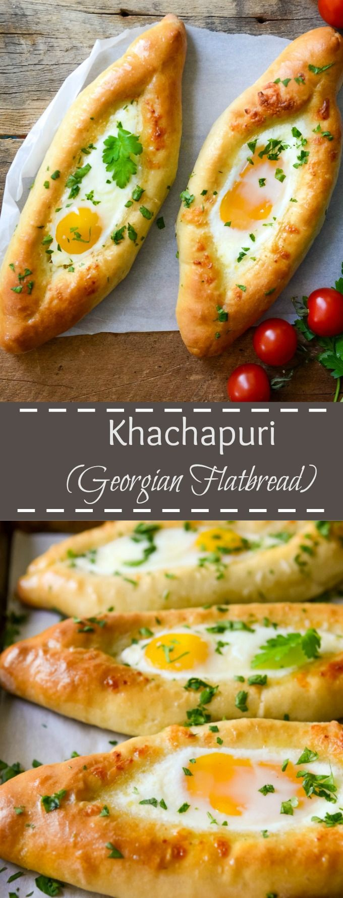This Georgian Flatbread can be served as a side dish or as a vegetarian main dish with a side salad. Filled with a combination of creamy and delicious cheeses and topped with an egg, these Khachapuri are sure to please your family and friends. via @https://www.pinterest.com/lavenderandmcrn/