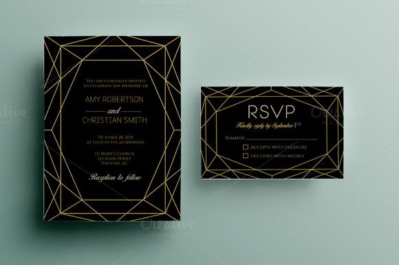 Gem wedding invitation template by annago on @creativemarket
