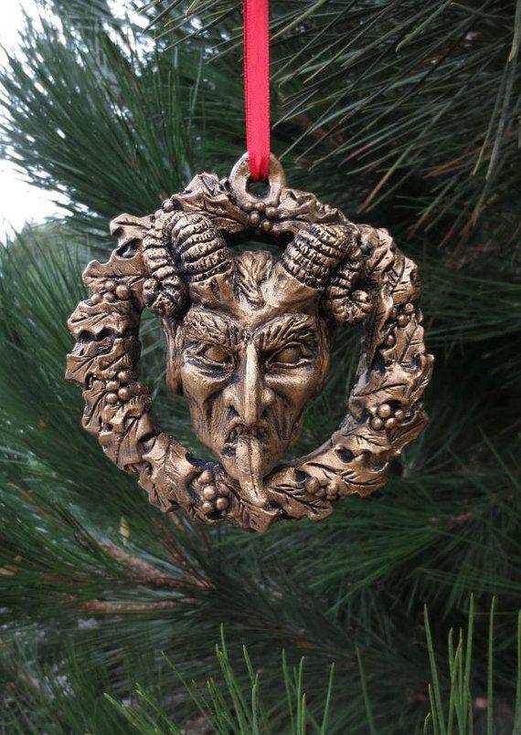 Krampus Wreath Ornament Gold by WitchfindersGenStore on Etsy, $30.00: