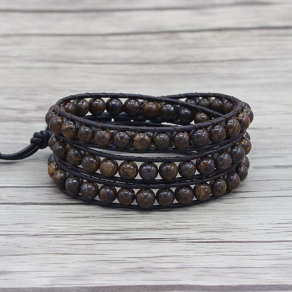 Leather Wrap bracelet India Agate bead bracelet women boho bead wrap bracelet leather bracelet gemstone bracelet natural stone Jewelry SL039