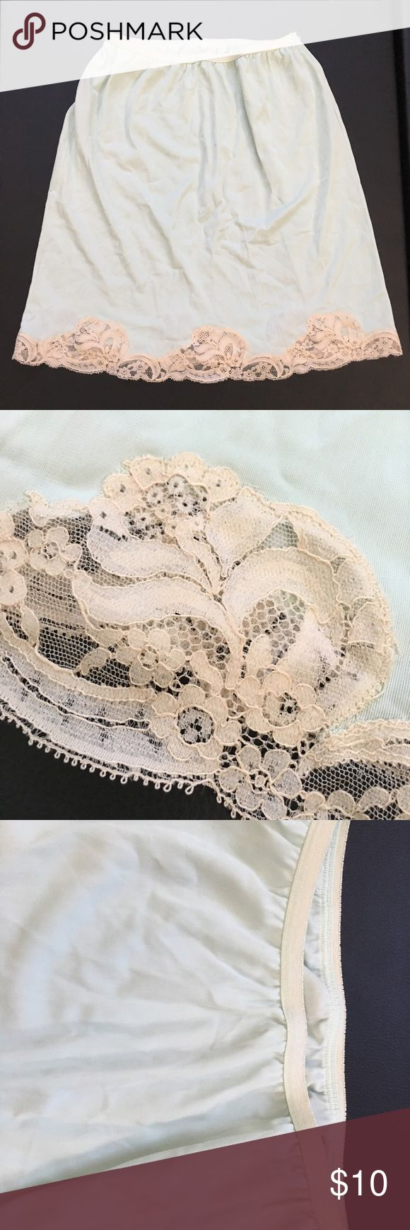 "Vintage Kayser Half Slip Vintage Kayser Half Slip.  100% Nylon.  Light mint color trimmed in Nude Color Lace.  Vintage Size MEDIUM.  Laid flat it measures 11.5"" wide and 18"" long.  Excellent Used Condition. Kayser Intimates & Sleepwear Chemises & Slips"