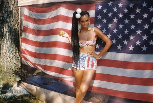 Happy 4th from SolangePoetic Justice, Braids, 4Th Of July, Solange Style, High Ponytail, Solange Knowles, Denim Shorts, Hair, American Beautiful