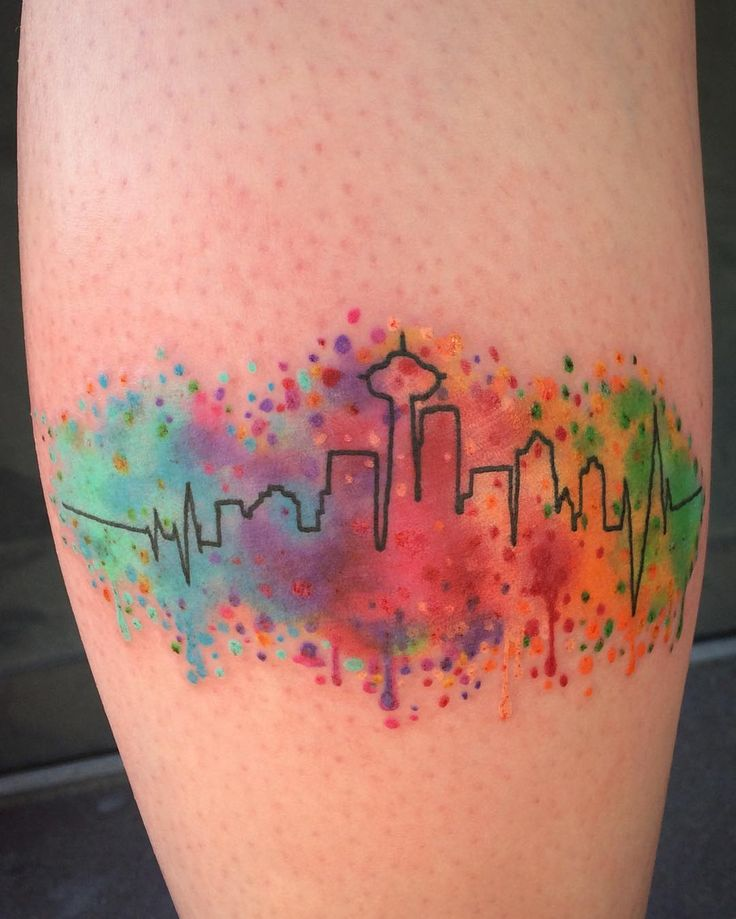 Color splattered Seattle skyline. #seattletattoo #watercolortattoo…
