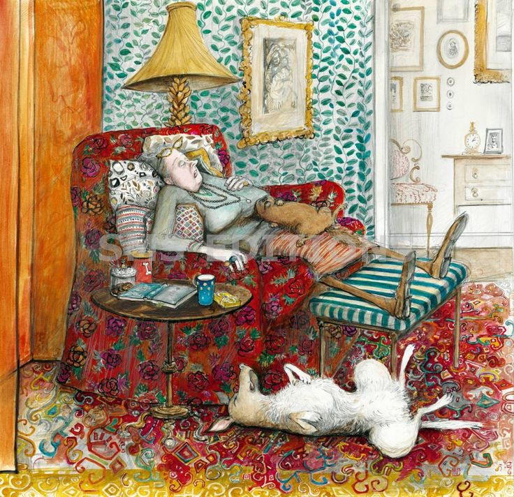 The Siesta Print by Sue Macartney-Snape. This sooooo looks like me - with Phoebe on the floor and a tan O'Henry on my lap. Love this. . . .