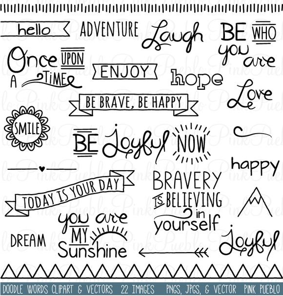 Check out Doodle Words Clipart and Vectors by PinkPueblo on Creative Market