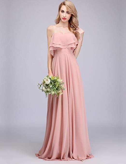 5629a33e23f8 CLOTHKNOW Strapless Chiffon Bridesmaid Dresses Long with Shoulder Ruffles  for Women Girls to Wedding Party Gowns.