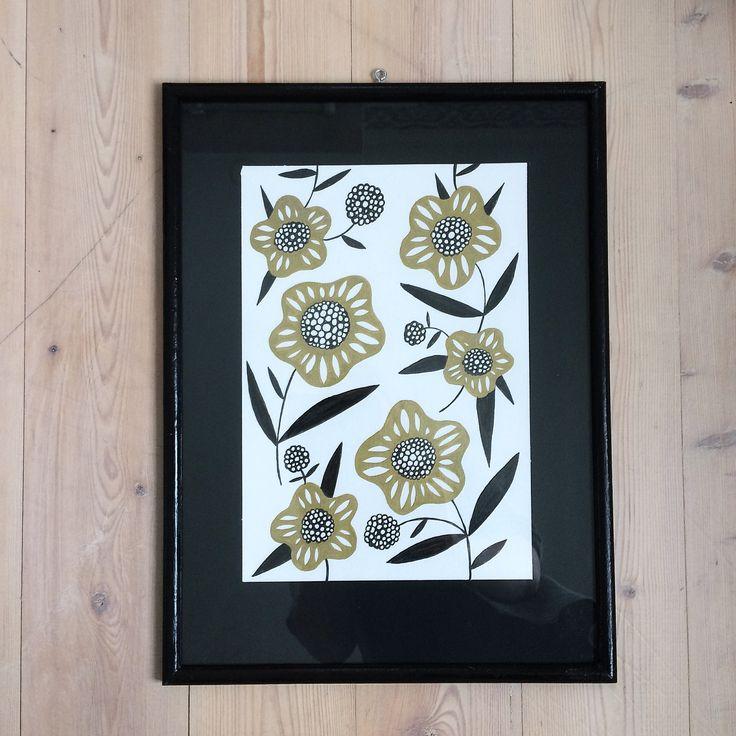Floral drawing. Botanical drawing. Illustration. Gold pencil sketch. By Johanna Sandberg.