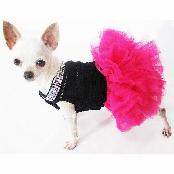 Summer Dog Clothes XXS Designer Chihuahua Dresses Black by myknitt