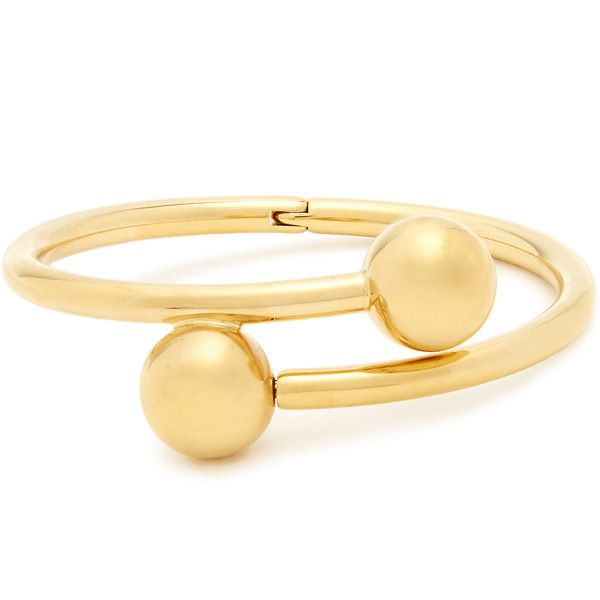 JW Anderson Double-sphere gold-plated bangle (€420) ❤ liked on Polyvore featuring jewelry, bracelets, gold, expandable bangle bracelet, hinged bracelet, hinged bangles, gold plated jewellery and gold plated bangles