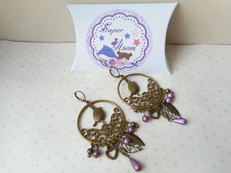 """Boucles d'oreilles vintage + boite cadeau """"super atsem"""" bronze, perles prune, breloques feuilles, coeurs, oiseaux, pompon : Boucles d'oreille par miss-coopecoll"""