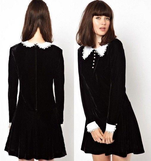 J636 Black Velvet Long Sleeves Lolita Dress Victorian Gothic White Collar | eBay