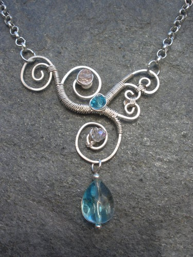 Wire Wrapped Necklace with Glass Teardrop and Czech Glass Crystal Rondelles